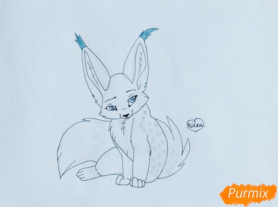 Рисуем аниме рысь карандашами - шаг 7
