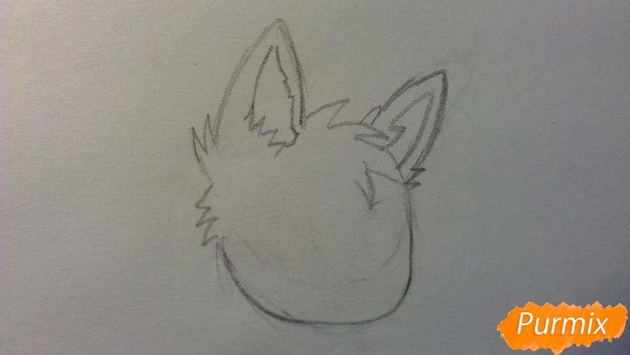 Рисуем аниме щенка с голубыми глазами - шаг 1