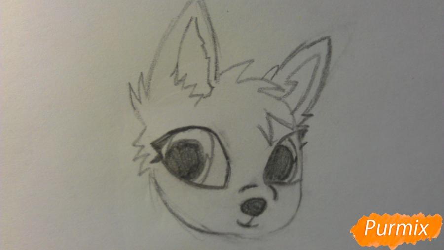 Рисуем аниме щенка с голубыми глазами - шаг 2