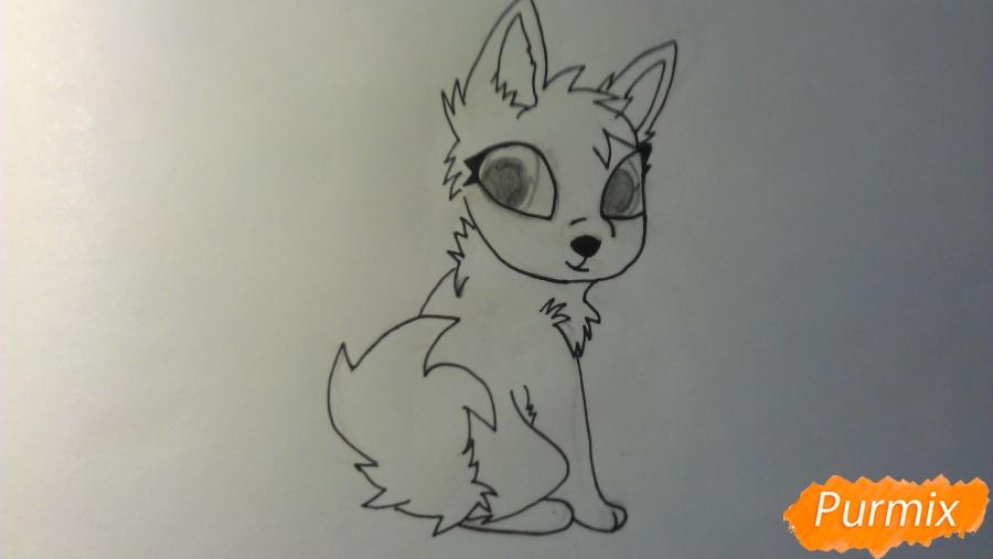 Рисуем аниме щенка с голубыми глазами - шаг 5