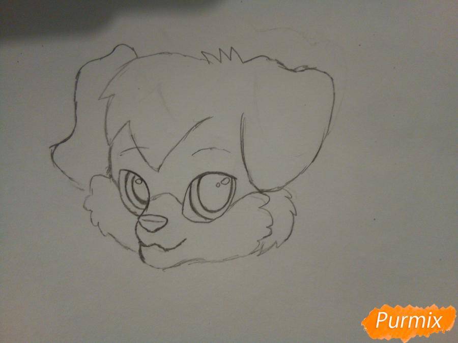 Рисуем аниме щенка с красными глазами - шаг 2