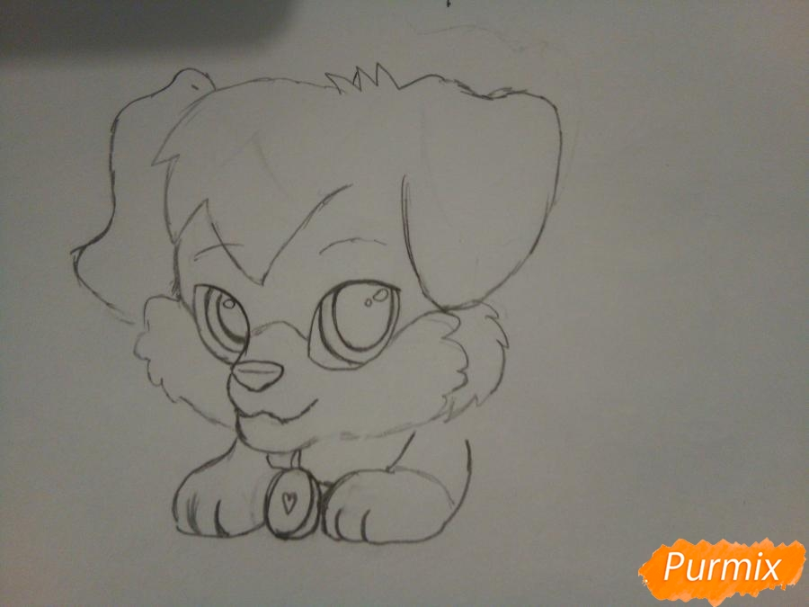 Рисуем аниме щенка с красными глазами - шаг 3