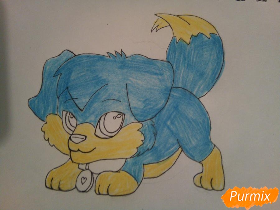 Рисуем аниме щенка с красными глазами - шаг 6