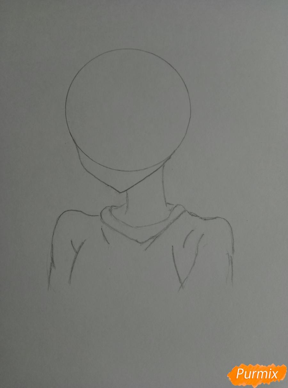 Рисуем аниме-тянку с ушками карандашами - шаг 1