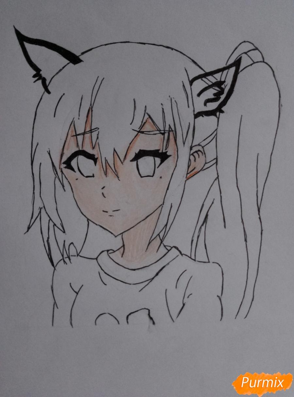 Рисуем аниме-тянку с ушками карандашами - шаг 5