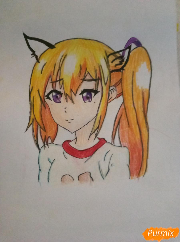 Рисуем аниме-тянку с ушками карандашами - шаг 6
