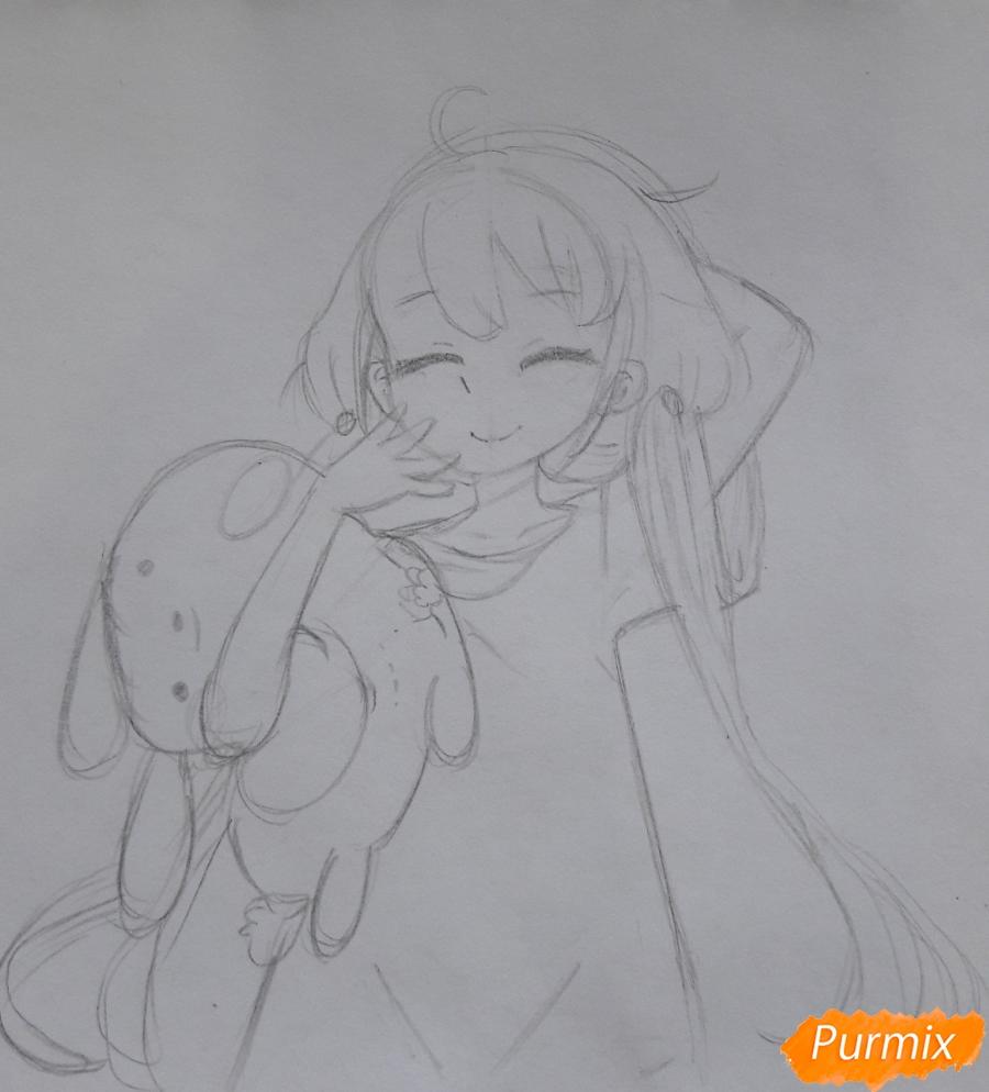 Рисуем анимешную девочку с плюшевым кроликом в руках карандашами - шаг 4