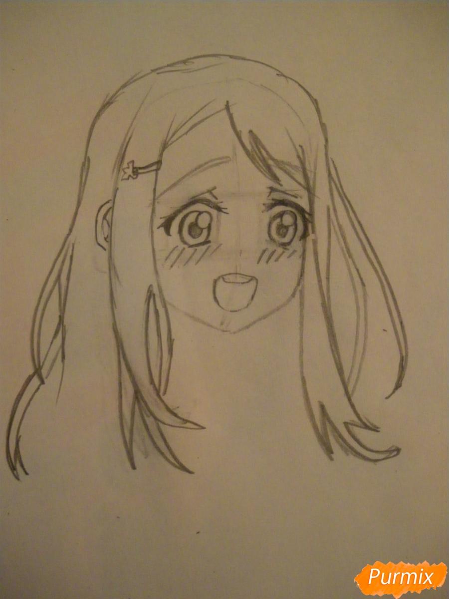 Рисуем Аясе Алису из аниме Love Live цветными карандашами - шаг 3