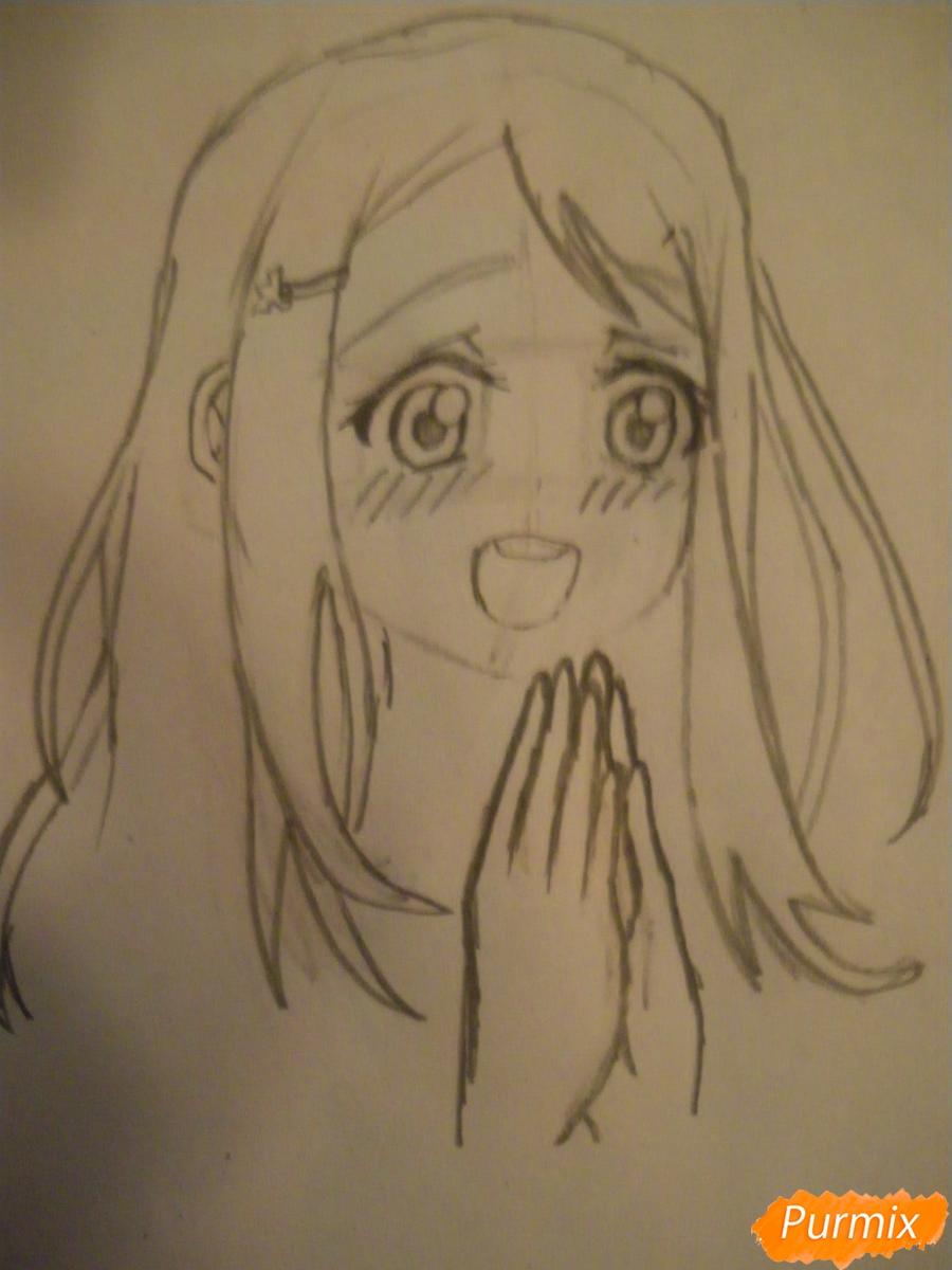 Рисуем Аясе Алису из аниме Love Live цветными карандашами - шаг 4