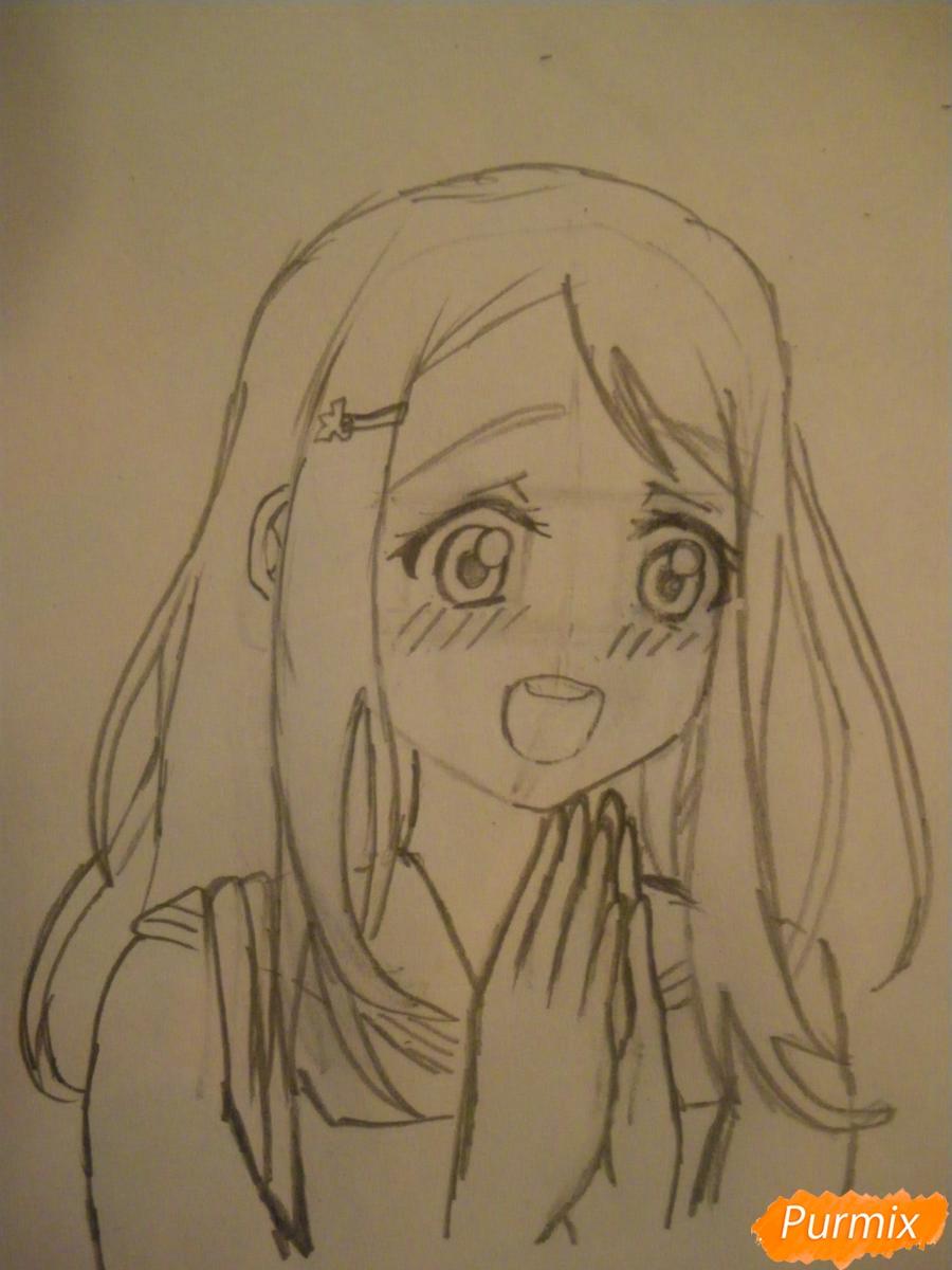 Рисуем Аясе Алису из аниме Love Live цветными карандашами - шаг 5
