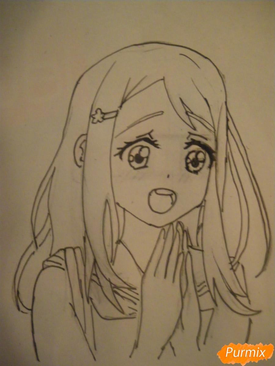 Рисуем Аясе Алису из аниме Love Live цветными карандашами - шаг 6