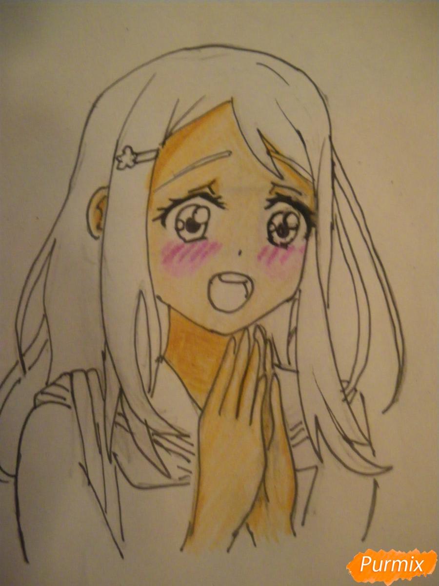Рисуем Аясе Алису из аниме Love Live цветными карандашами - шаг 7