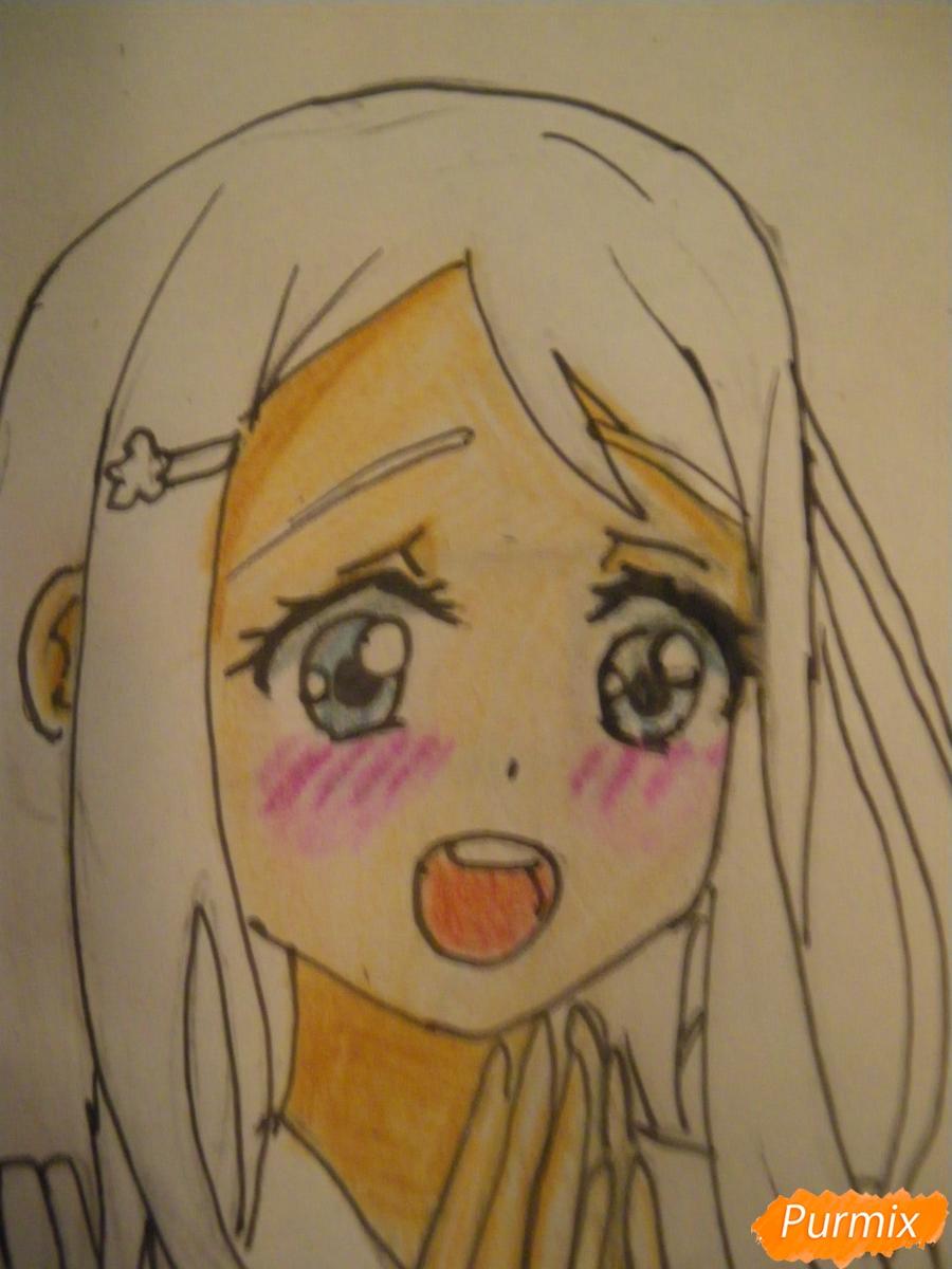 Рисуем Аясе Алису из аниме Love Live цветными карандашами - шаг 8