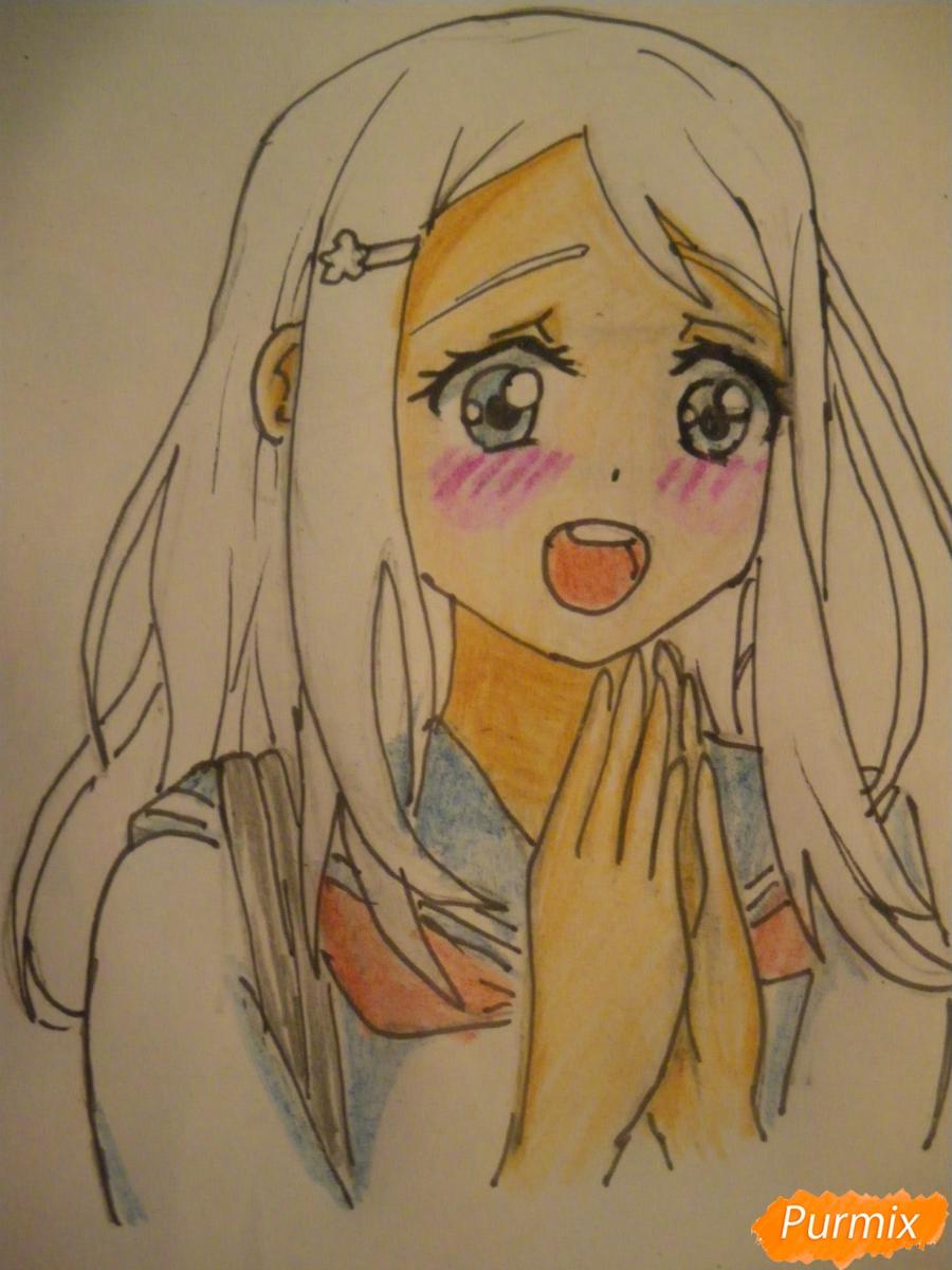 Рисуем Аясе Алису из аниме Love Live цветными карандашами - шаг 9