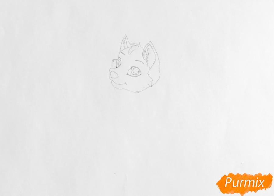 Рисуем белого аниме щеночка с чёрными ушками - шаг 2