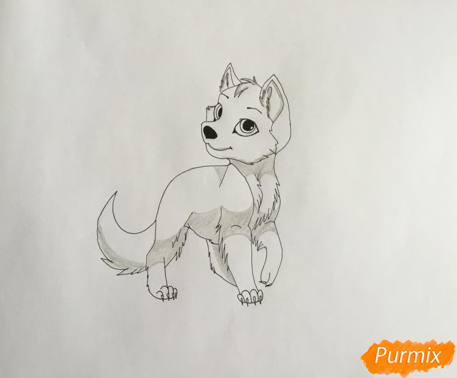 Рисуем белого аниме щеночка с чёрными ушками - шаг 6