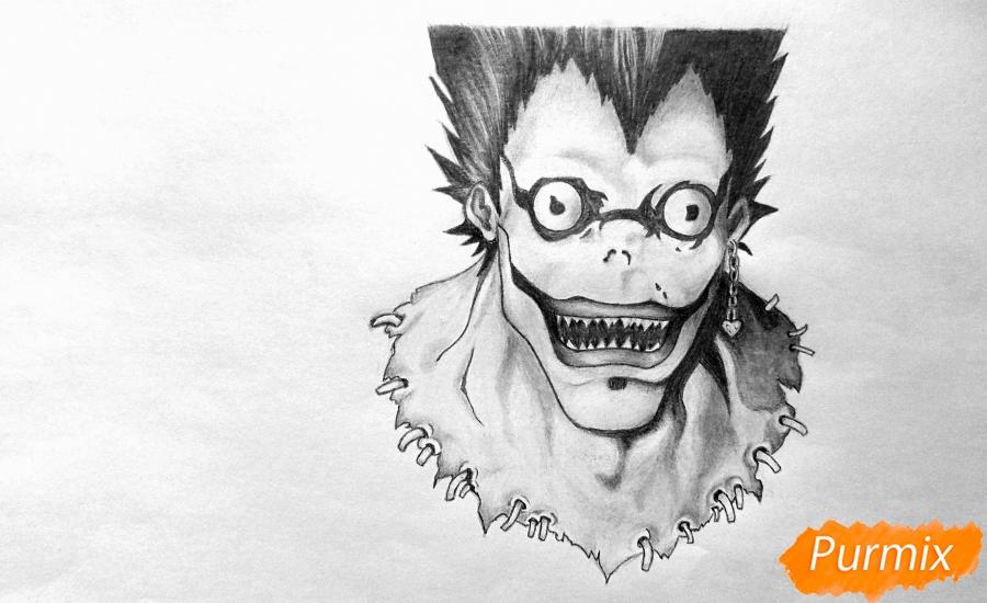 Рисуем бога смерти Рюка из аниме Тетрадь смерти карандашами - шаг 5