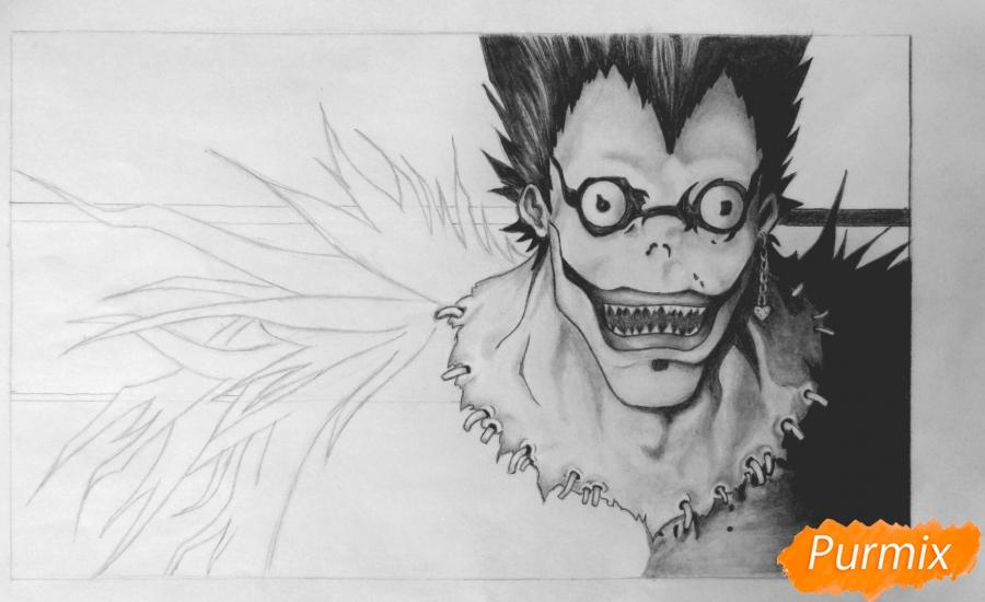 Рисуем бога смерти Рюка из аниме Тетрадь смерти карандашами - шаг 7
