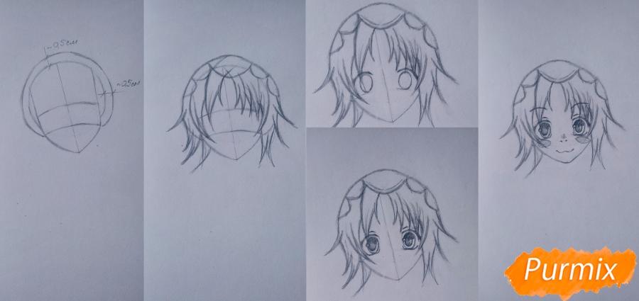 Рисуем Чамо Россо из аниме Герои шести цветов - шаг 2