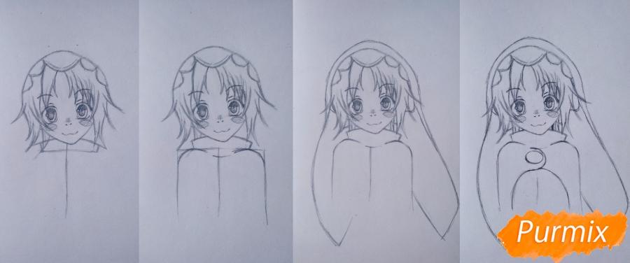 Рисуем Чамо Россо из аниме Герои шести цветов - шаг 3