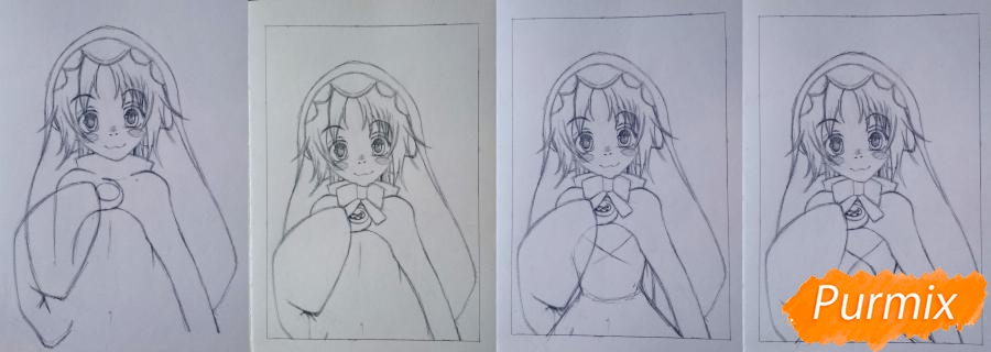 Рисуем Чамо Россо из аниме Герои шести цветов - шаг 4