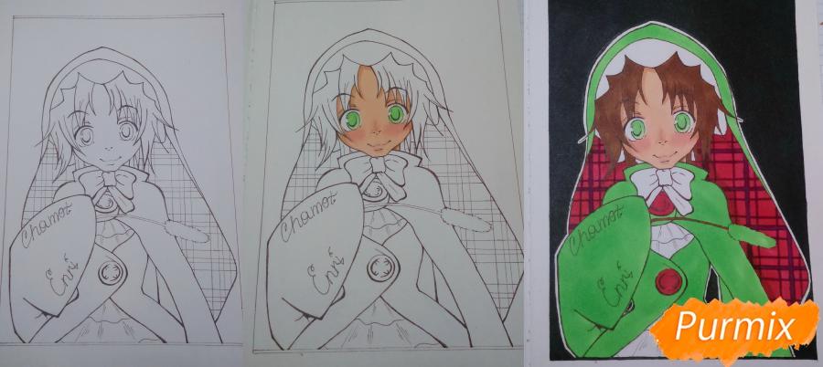 Рисуем Чамо Россо из аниме Герои шести цветов - шаг 7
