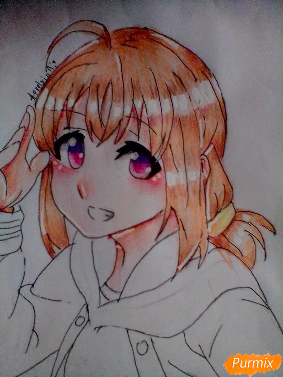 Рисуем и раскрасить Чики Таками из аниме Живая Любовь - шаг 10