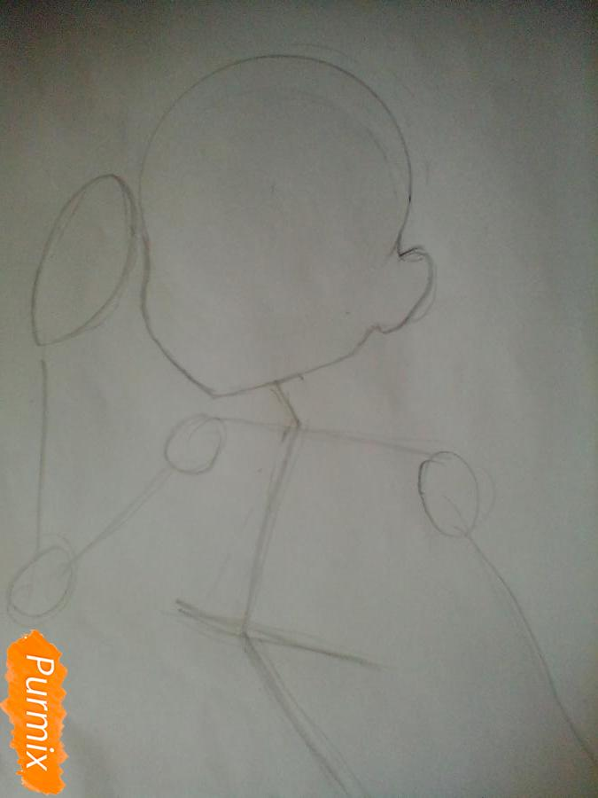Рисуем и раскрасить Чики Таками из аниме Живая Любовь - шаг 2