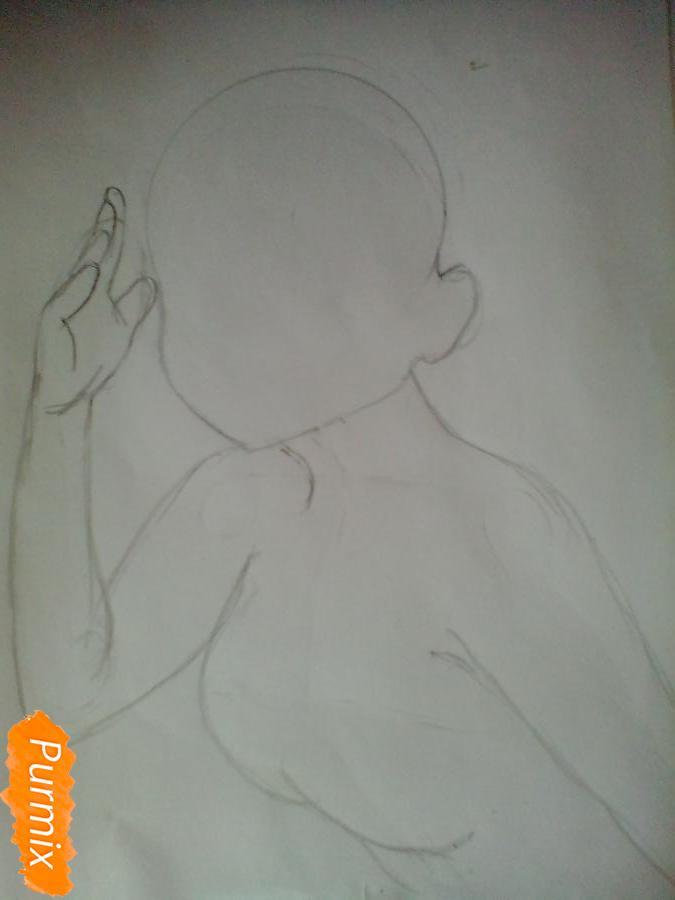Рисуем и раскрасить Чики Таками из аниме Живая Любовь - шаг 3