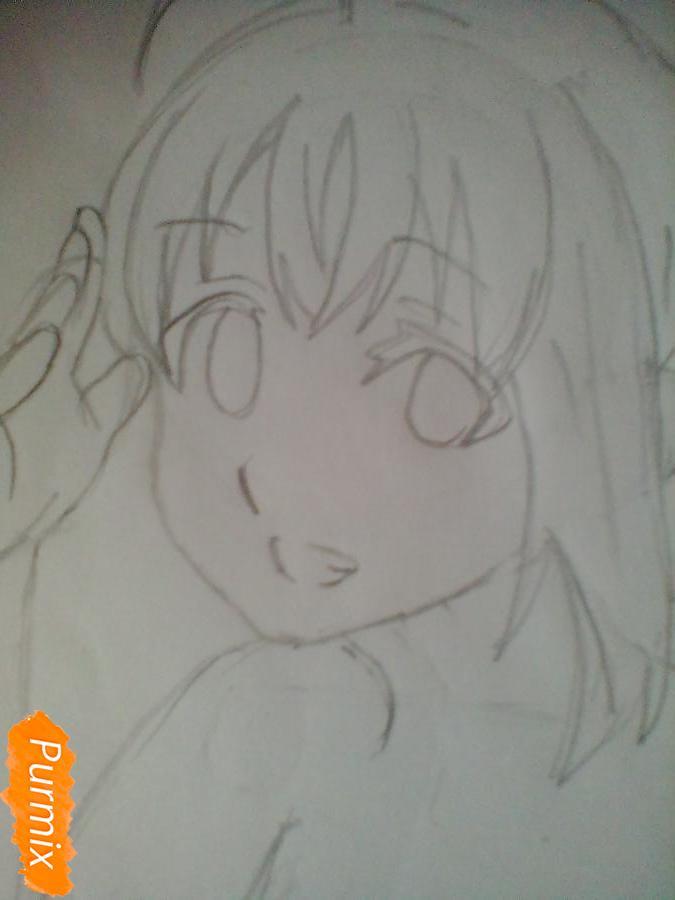 Рисуем и раскрасить Чики Таками из аниме Живая Любовь - шаг 5
