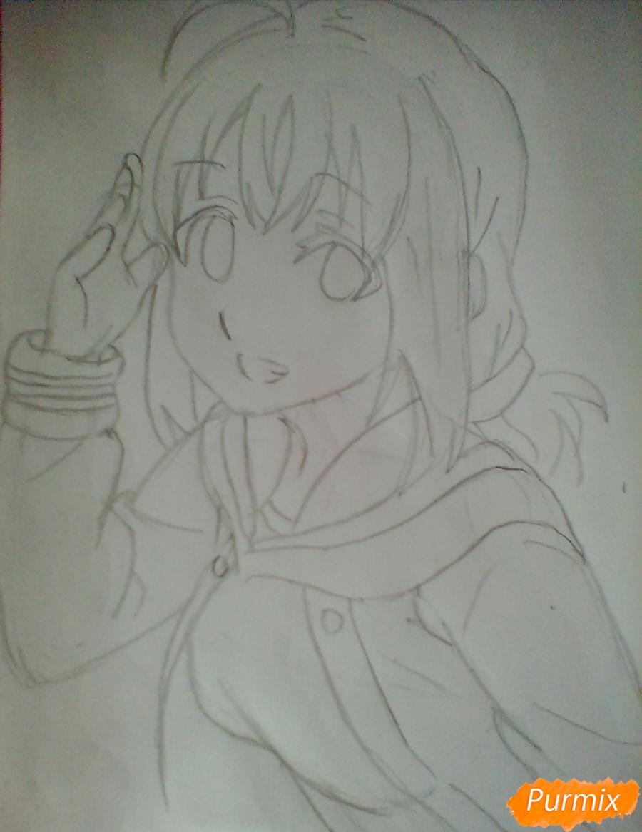 Рисуем и раскрасить Чики Таками из аниме Живая Любовь - шаг 6