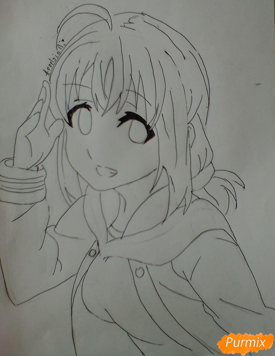 Рисуем и раскрасить Чики Таками из аниме Живая Любовь - шаг 7