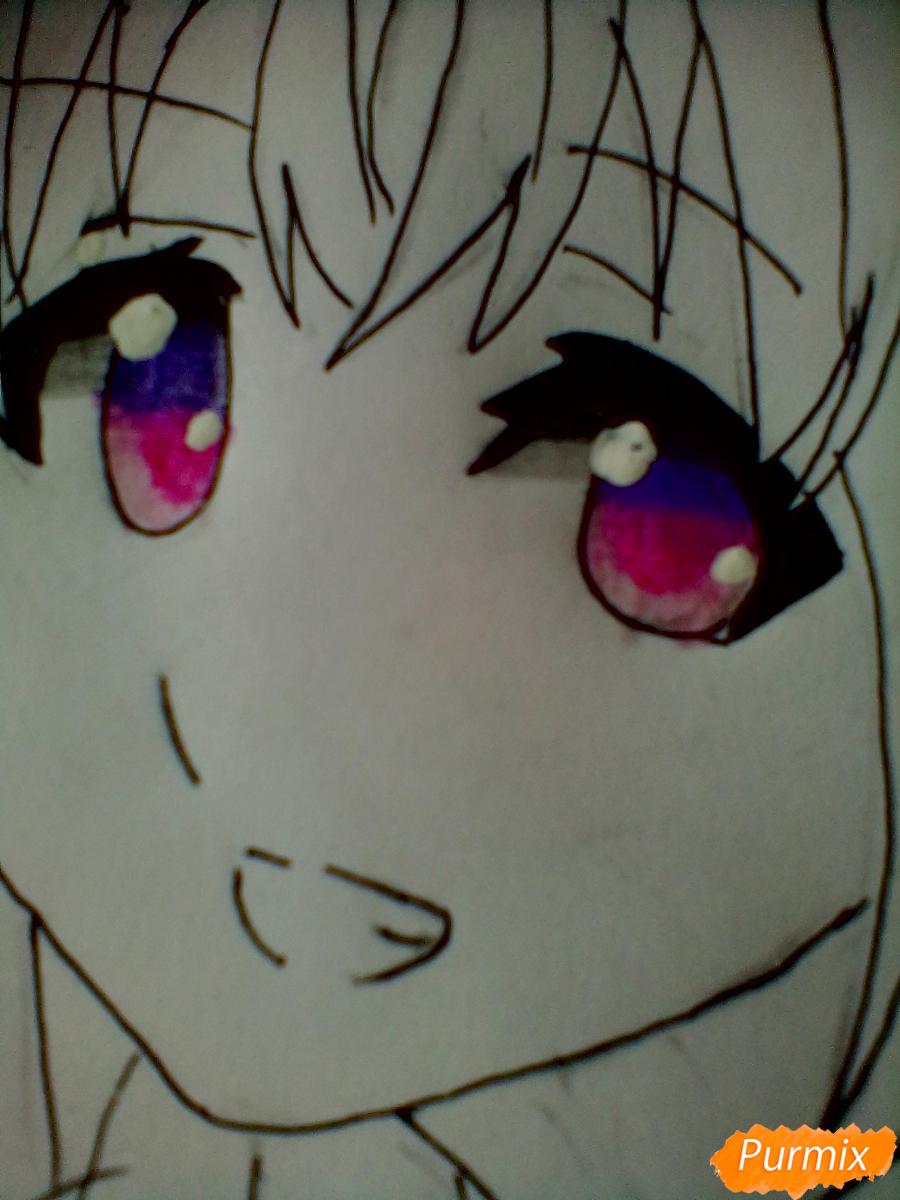 Рисуем и раскрасить Чики Таками из аниме Живая Любовь - шаг 8
