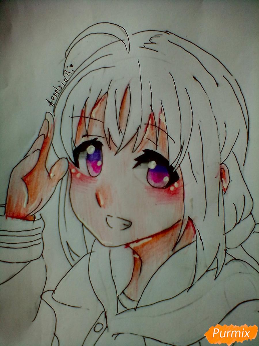 Рисуем и раскрасить Чики Таками из аниме Живая Любовь - шаг 9