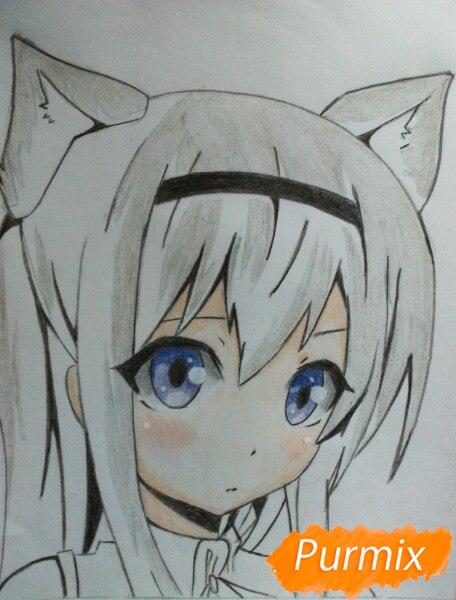 Рисуем  цветными карандашами милую аниме девочку с ушками - шаг 10