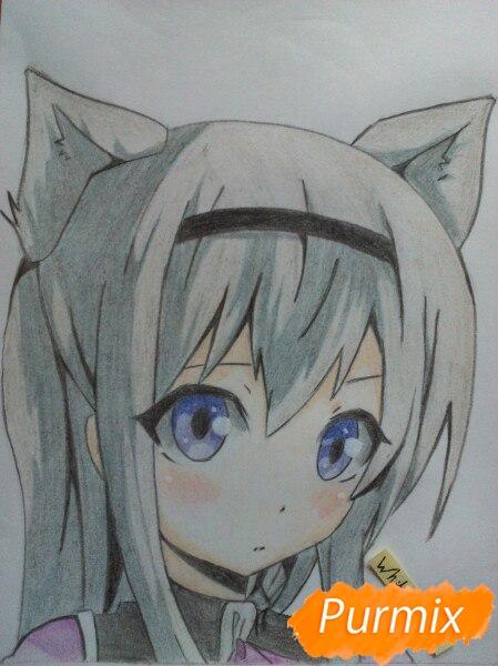 Рисуем  цветными карандашами милую аниме девочку с ушками - шаг 12