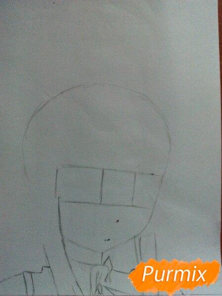Рисуем  цветными карандашами милую аниме девочку с ушками - шаг 2