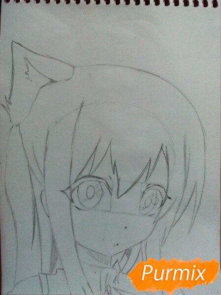 Рисуем  цветными карандашами милую аниме девочку с ушками - шаг 5