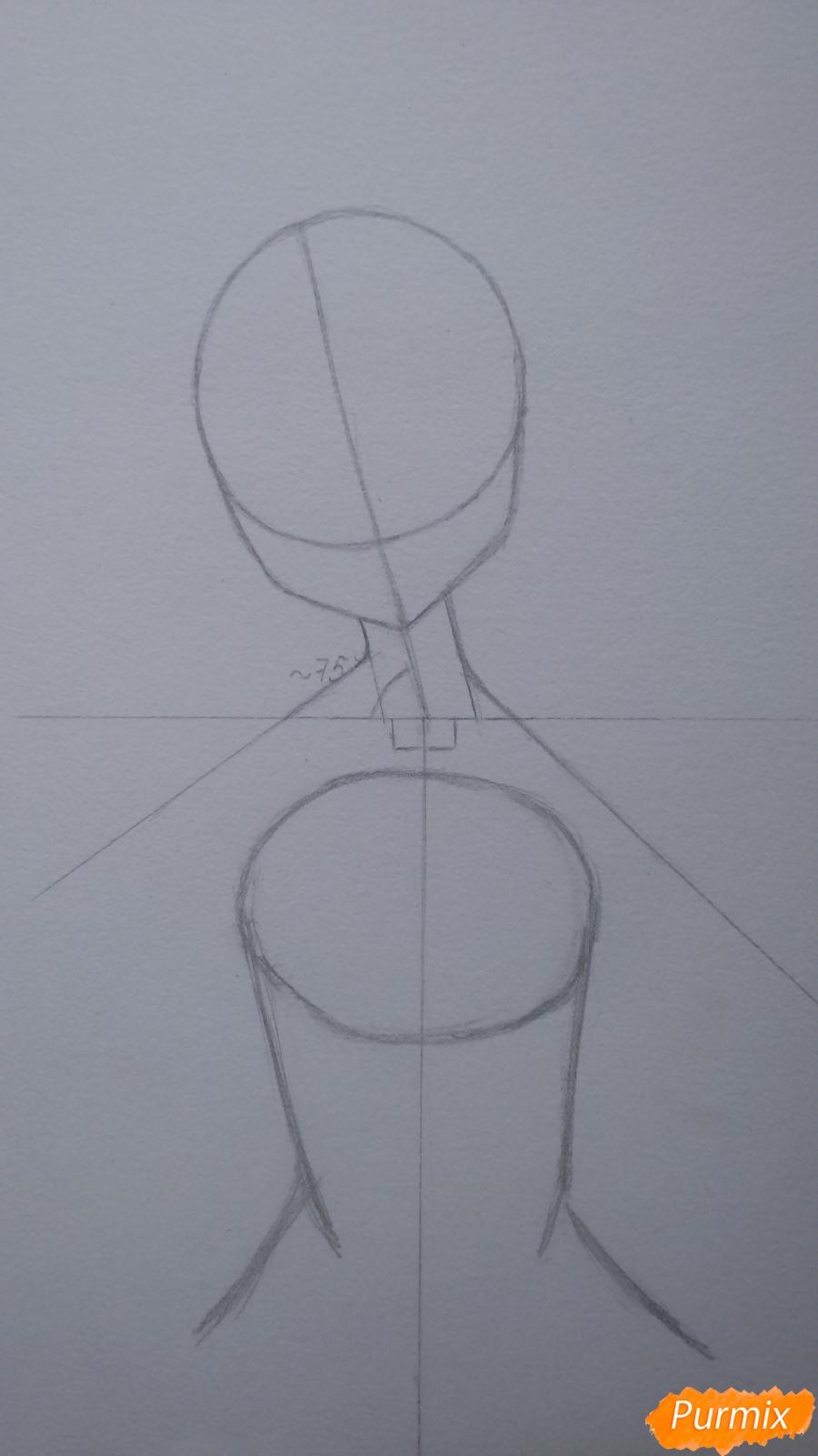 Рисуем девушку с короной в стиле аниме - шаг 2