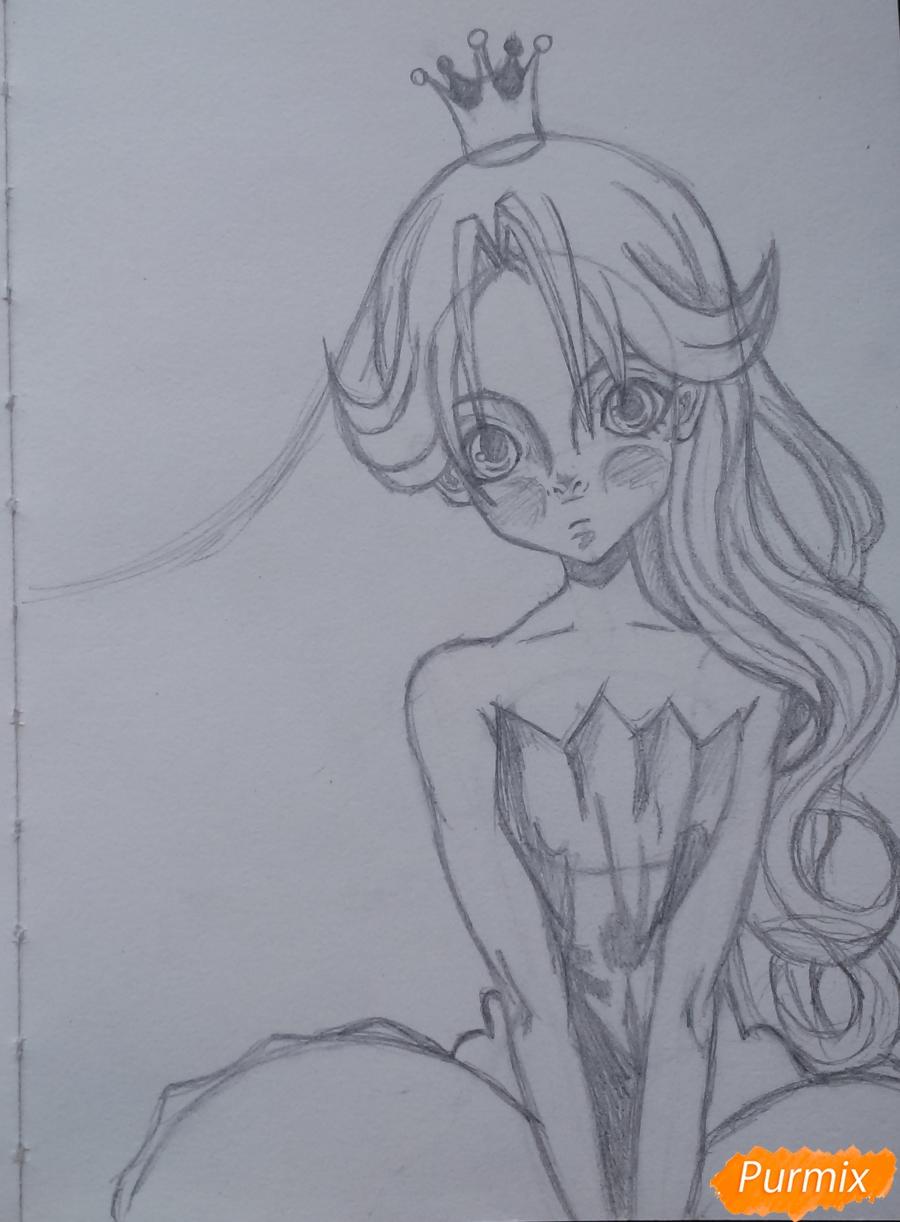 Рисуем девушку с короной в стиле аниме - шаг 9