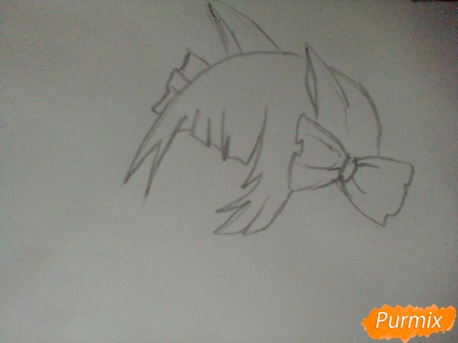 Рисуем девушку вампира с черепом в аниме стиле - шаг 1