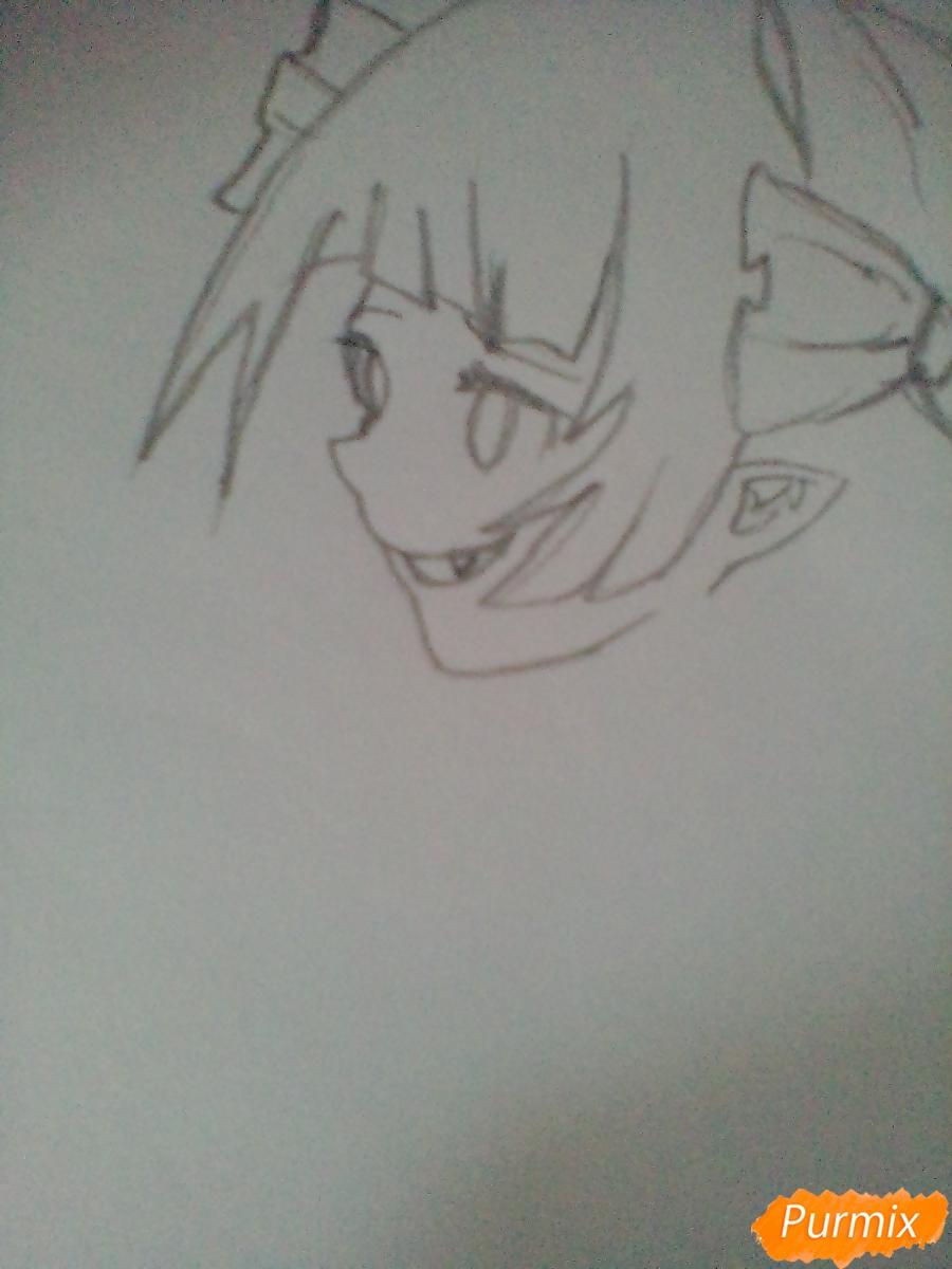 Рисуем девушку вампира с черепом в аниме стиле - шаг 2