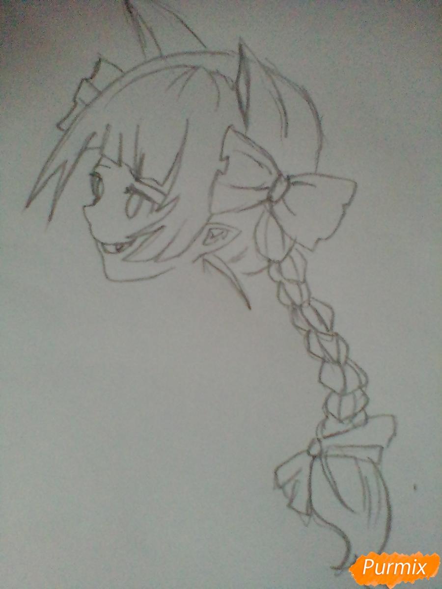 Рисуем девушку вампира с черепом в аниме стиле - шаг 3