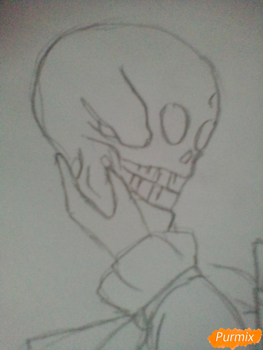 Рисуем девушку вампира с черепом в аниме стиле - шаг 6