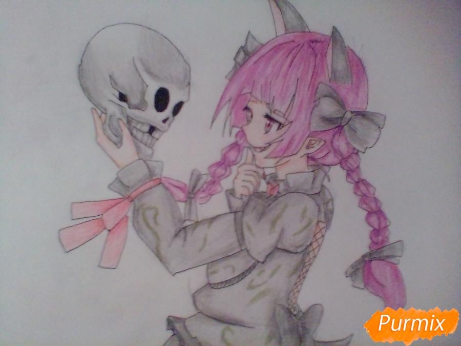Рисуем девушку вампира с черепом в аниме стиле - шаг 9