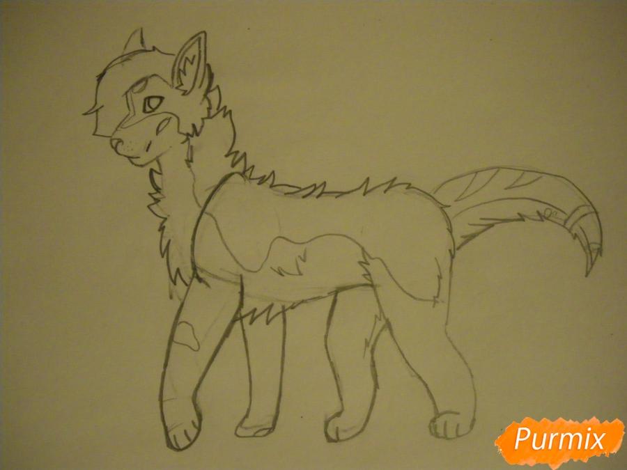 Рисуем дикого кота с коричневым окрасом - шаг 6