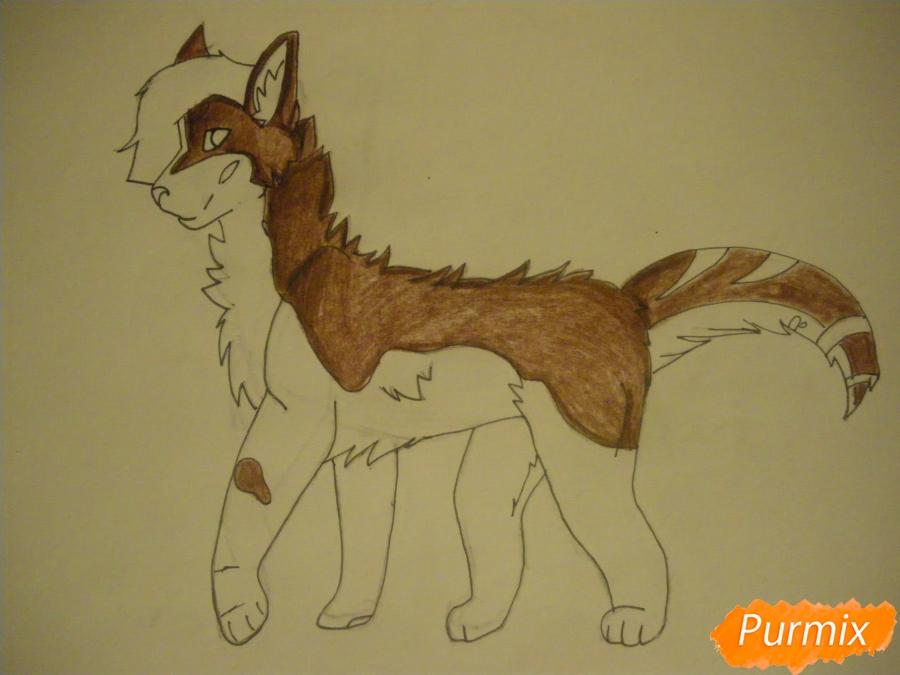 Рисуем дикого кота с коричневым окрасом - шаг 8