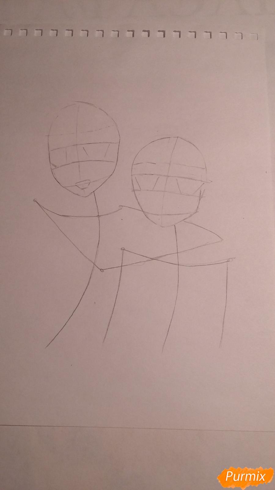 Рисуем двух девушек в аниме стиле - шаг 1