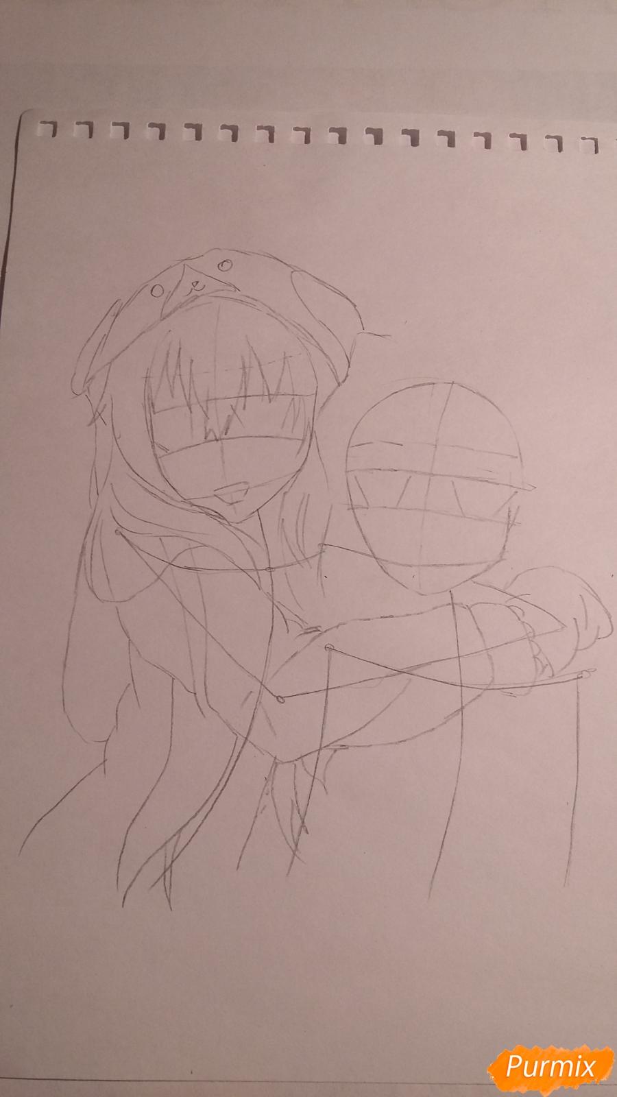 Рисуем двух девушек в аниме стиле - шаг 2
