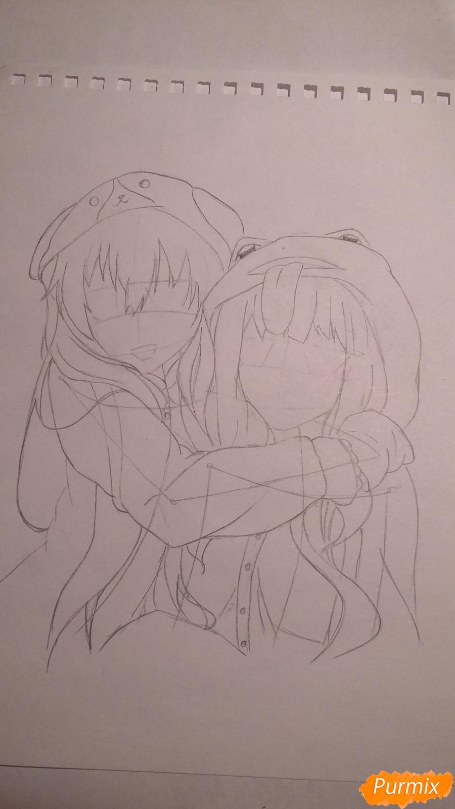 Рисуем двух девушек в аниме стиле - шаг 3
